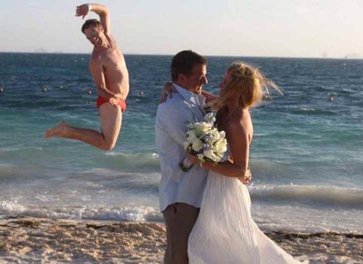 A funny wedding on a beach