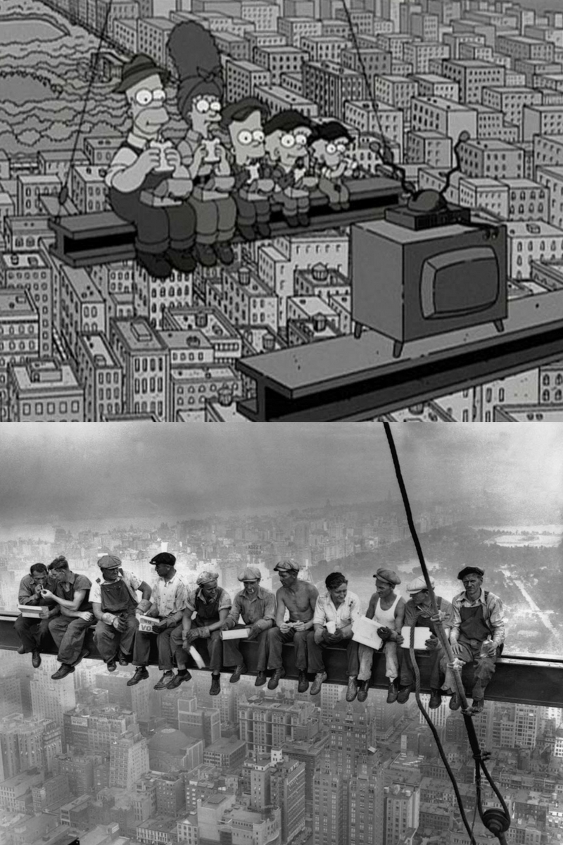 lunch atop a skyscraper the simpsons